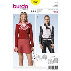 Burda Style Pattern 6800 Jackets, Coats, Vests