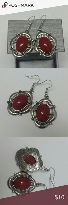 Vintage Style Boho Red & Silver Earrings Beautiful, like new, bundle and save more :) Jewelry Earrings