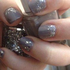 (nails,nail art,diy,grey,glitter,mani,cute,pretty)