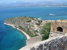 View from the Palamidi castle Nafplio, Greece Archaeological Site, Travel Maps, Homeland, Vacation Spots, City Photo, Greece, Castle, Beach, Places