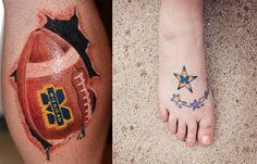 My husbands Michigan Tattoo is on the left, that one is on his calf.My Michigan Tattoo is on the right, and it is located on my right foot!GO BLUE! Wolverines, Maize and Blue Football Tattoo, Men's Football, Body Art Tattoos, I Tattoo, Tatoos, Wolverine Tattoo, Michigan Tattoos, Cool Tats, Memorial Tattoos