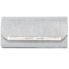 Natasha Accessories Evening Clutch ($30) ❤ liked on Polyvore featuring bags, handbags, clutches, silver, white clutches, faux-leather handbags, white purse, cocktail purse and silver evening purse