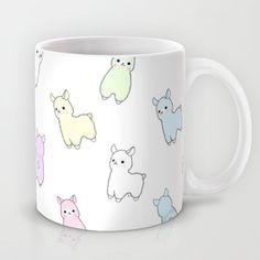 (More) Pastel Pacas Coffee Mug by rinicake - 11 oz Cute Coffee Mugs, Cool Mugs, Tea Mugs, Coffee Cups, Alpacas, Alpaca Gifts, Cute Cups, My Cup Of Tea, Ceramic Mugs