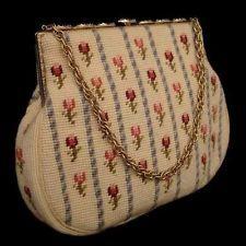 Vintage Switkes Roses Needlepoint Handbag 1950'S