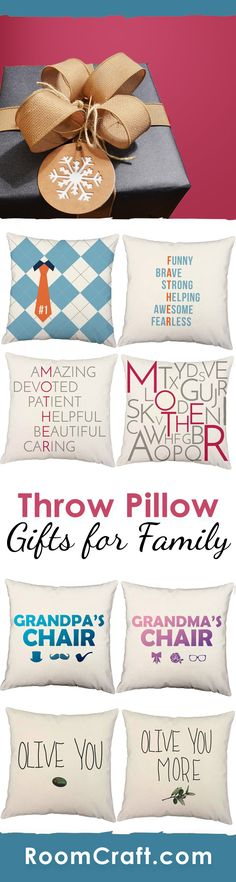 Whether it is their birthday, a holiday, or just because... show you parent or grandparent how much you care about them with these family inspired throw pillows.  Each design is offered in multiple fabrics, sizes, and colors making them the perfect gift that they can put in any room in their home. Our quality pillow covers are made to order in the USA and feature 3 wooden buttons on the back for closure. Choose your favorite and create a truly unique pillow set. #roomcraft