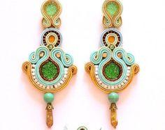 Items similar to Soutache Earrings- Swarovski Crystal Statement Earrings- Dangle Long Earrings- Bohemian Earrings- Turqouise- OOAK Earrings- Soutache set on Etsy Soutache Earrings, Swarovski Crystal Earrings, Dangle Earrings, Matching Necklaces, Bohemian Jewelry, Statement Earrings, Turquoise Bracelet, Dangles, Shibori