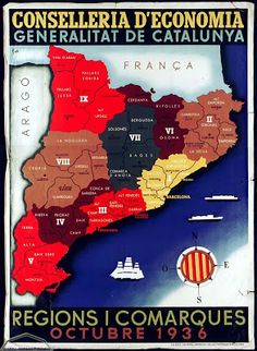 Spain - 1936. - GC - poster - Regios i comarques