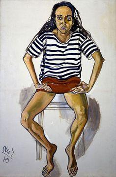 alice neel paintings | Ginny in Striped Shirt, 1969 (David Zwirner/The Estate of Alice Neel)
