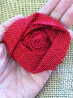 Burlap Flower Red Rosette Shabby Chic Wedding Decor Fall Decor Apple Red Autumn Holiday Valentine Christmas Rustic Shabby Chic Country Decor on Etsy, $2.00