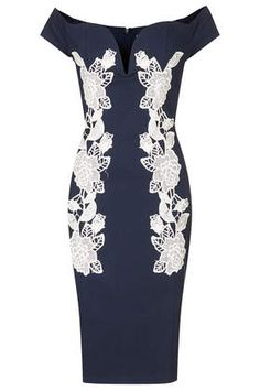 **Navy Bodycon Dress with Lace by Rare - Dresses - Clothing