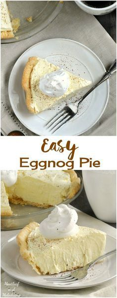 Easy Eggnog Pie is an almost no bake dessert that's perfect for Christmas or Thanksgiving! It's light, fluffy and not filling at all! desserts for thanksgiving Eggnog Pie - Meatloaf and Melodrama Brownie Desserts, Mini Desserts, Holiday Desserts, Holiday Baking, No Bake Desserts, Holiday Recipes, Delicious Desserts, Dessert Recipes, Christmas Recipes