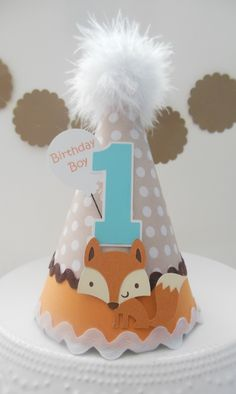 Lil Fox – Woodland Birthday Party Hat – Brown, Tan, Mango Orange and Aqua Teal Blue- Personalized Lil Fox Woodland Birthday Party Hat Brown by SandysSpecialtyShop Baby Boy 1st Birthday Party, First Birthday Parties, Birthday Party Themes, First Birthdays, Elmo Birthday, Dinosaur Birthday, Party Animals, Animal Party, Fox Party
