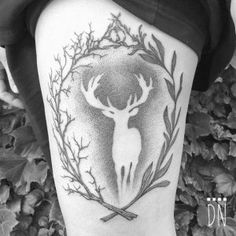 Negative space dotwork stag by Dino Nemec