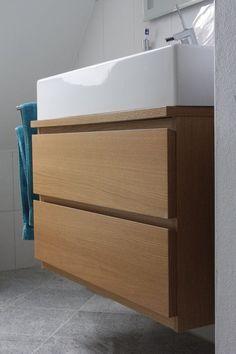 Malm Kommode umfunktioniert since the (standard) base cabinets were just too expensive for me, I was Dresser Sink, Malm Dresser, Vanity Sink, Nightstand, Vanity Cabinet, Hack Ikea, Table Ikea, Pink Vanity, Custom Vanity