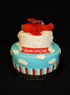 Baby Shower Ides For Boys Airplanes Dessert Tables Super Ideas Torta Baby Shower, Baby Shower Oso, Baby Shower Drinks, Baby Shower Themes, Shower Ideas, Baby Shower Centerpieces, Baby Shower Decorations, Cake Decorations, Airplane Baby Shower Cake