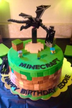 Minecraft ender dragon cake
