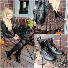 doc martens style <3 dress with leather moto jacket and black tights and black doc martens!