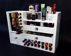 Black   Wall Mounted/Counter Top Makeup Organizer Vanity