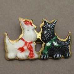Scottie Dogs Pin Vintage Plastic & Brass Terrier Brooch | eBay