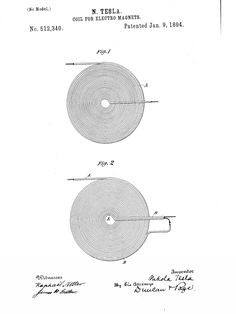 Coil for Electro Magnets US512,340 Zero Point Energy, Electronic Circuit Design, Quantum Mechanics, Nikola Tesla, Magnets