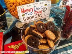 Harvey Dent, Two-Face Cookies. Batman Birthday Party Ideas. Superhero Birthday Party. Food, Decorations, and Fun. The Joker, Harley Quinn, Superman, Justice League, Suicide Squad, and more!