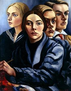 Charley Toorop (Dutch painter and lithographer) 1891 - 1955 Zelfportret met Drie Kinderen (Self-Portrait with Three Children), 1929 oil on canvas Harlem Renaissance, Art Deco, Piet Mondrian, Dutch Painters, Collaborative Art, Dutch Artists, Art Moderne, Art Graphique, Three Kids