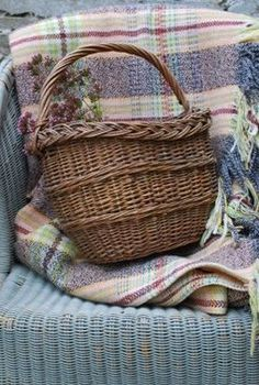"""Vintage Plum Welsh Blanket: a traditional Welsh """"carthen"""" is a warm and cozy touch - no self-respecting English Country Cottage would be without one!"""
