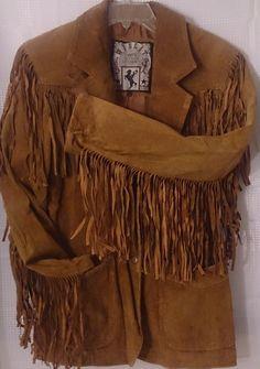 Women Suede Leather Jacket Coat SZ S M Wilson Boho Native Western Fringe Hippie #WilsonsLeather #BasicJacket
