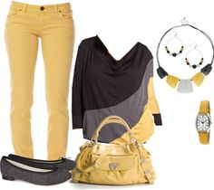 """PLUS SIZE OUTFIT """"Untitled #154"""" by bkassinger on Polyvore I love the color palate used, yellow always cheers me up when I wear it"""