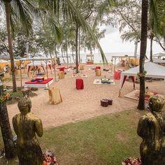 Beach party - outdoor decor - lanterns - cushions