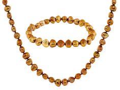 7-8mm Golden Cultured Freshwater Pearl Necklace And Stretch Bracelet J