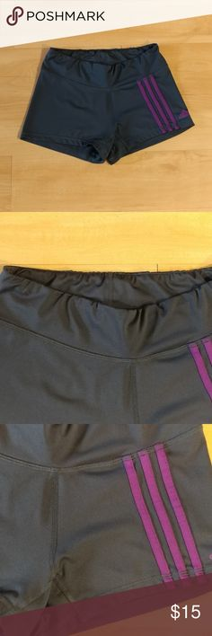 "Adidas Shorts Gray Purple Stripe Compression You will be ready to perform  at your?best in these compression?  performance?designed shorts  from?Adidas!  Pull-on styling  Elastic waist  Climalite fabric  94% Polyester 6% Spandex  Machine washable  In good condition!  Waist slightly bunched. Does not take from wear!  Size tag (interior) faded  No stains or tears noted!  From a pet & smoke free home  Measurements (approx):?  waist 27""  hips 32""  Add 1 more item and SAVE 10%! Adidas Shorts"