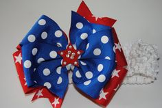 Image detail for -Fourth of July Bow with white crochet headband, Large Basic bow, Girls ...