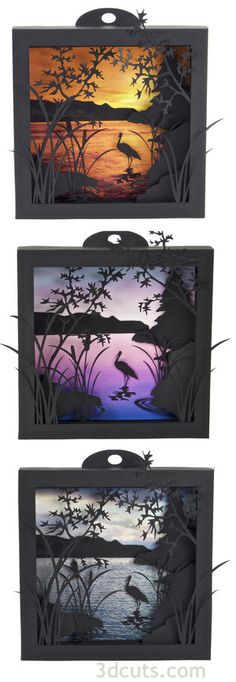 Heron Cove Shadow Boxes  SVG cutting Files from 3dcuts.com for use with…