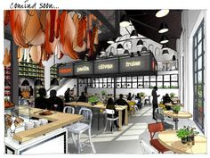 Really like this drawing rendering of the Restaurant Mercat Amsterdam