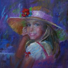LITTLE GIRL IN MAMA'S HAT, painting by artist Elizabeth Blaylock