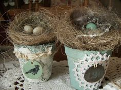 Beautiful way to welcome Spring and Summer, with this handmade natural looking birds nest, sitting atop of an altered, shabby aqua peat pot. Layers and
