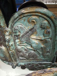 Bronze chariot inlaid with ivory Other side of the chariot. Etruscan  2nd-6th cent.BC Scenes from the life of the greek hero Achilles
