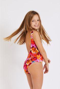 M Baloo Sunrise pink one-piece swimsuit | Banana Moon® Girls One Piece Swimsuit, Pink Swimsuit, Sporty Chic, Kids Swimwear, Swimsuits, Pink Two Piece, Vogue, Cute Little Girls, Pink Girl
