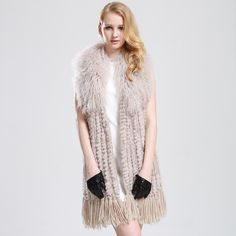 Natural Rabbit Hair Rabbit Fur Woven Vest With Tibet Sheep Fur Collars Long Coat Elegant Genuine Fur Tassel Vest $170.41