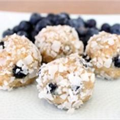 Nutty Blueberry Protein Balls on BigOven: These little balls of protein are packed with tons of healthy fat and are the perfect snack when you're on the run. They're also a healthy way to satisfy a sweet tooth.