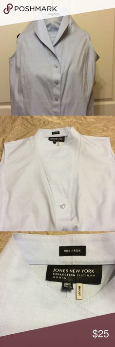 + Top/blouse Baby blue in color, for button down, sleeveless blouse with a collar that can be opened or closed. See pictures.  Little to no wear. Jones New York Tops Blouses