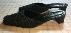 Hype slides Mules women's 9 M Nordstrom Black Gray Tweed upper EUC #heels (ebay link)