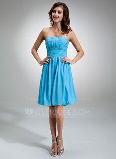 A-Line/Princess Sweetheart Knee-Length Chiffon Bridesmaid Dress With Ruffle (007004986)