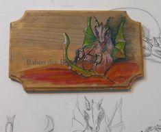 petit dragon sur lit de flamme  , plaque de porte , aquarelle et encre sur bois :) Dragons, Little Dragon, Watercolor And Ink, Stream Bed, Kites
