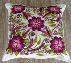Off White Peruvian pillow embroidered cushion cover 16x16  alpaca handmade Peru decorative embroidery colorful boho-chic eclectic Peru