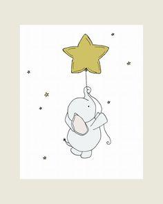 Elephant Nursery Art Print, Nursery Decor, Elephant Art Print, Baby Elephant Star Balloon, 8x10 Children Art, Kids Wall Art, Custom White