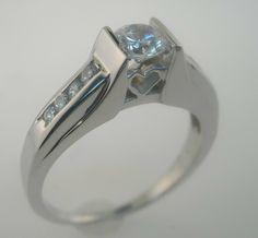 1/2 Ct Tw Genuine Diamond Heart Channel Setting Engagement Ring 14k White Gold - Diamond