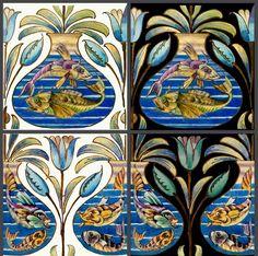 De Morgan Persian Fish Bowl Tile Panels - Arts & Crafts Fireplace and Border Tiles Hall Tiles, Medieval Paintings, Tiles Price, Border Tiles, Tile Panels, Rainbow Fish, Red Fish, Panel Art, Painted Paper