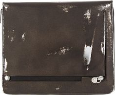 Maison Martin Margiela: Black Painted Leather Zippered iPad Case